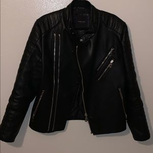 Zara Man slim large faux leather biker jacket